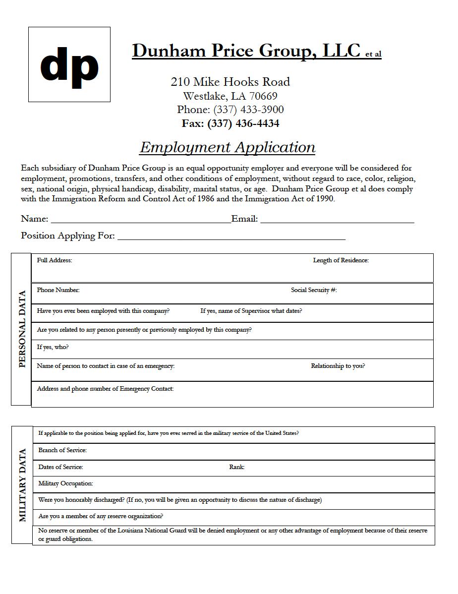 Dunham Price Application